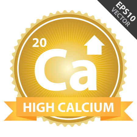 Vector : Tag, Sticker or Badge For Healthy, Weight Loss, Diet or Fitness Product Present By Orange High Calcium Ribbon on Gold Badge With High Calcium Sign Isolated on White Background Vector