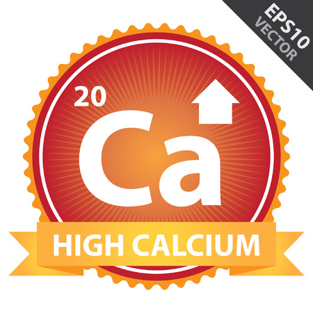 ca: Vector : Tag, Sticker or Badge For Healthy, Weight Loss, Diet or Fitness Product Present By Orange High Calcium Ribbon on Red Badge With High Calcium Sign Isolated on White Background Illustration