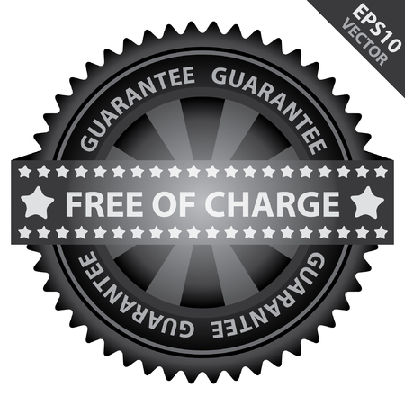 assure: Vector : Marketing Campaign, Promotion or Business Concept Present By Black Glossy Badge With Free of Charge Label With Guarantee Text Around Isolated on White Background