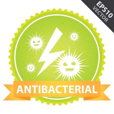 disinfect: Vector : Tag, Sticker or Badge For Healthcare Present By Orange Ribbon on Green Badge With Antibacterial Text and Bacteria Sign Isolated on White Background