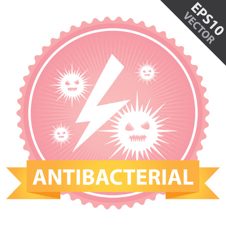 antibacterial: Vector : Tag, Sticker or Badge For Healthcare Present By Orange Ribbon on Pink Vector : Tag, Sticker or Badge For Healthcare Present By Orange Ribbon on Pink Badge With AntibactBadge With Antibacterial Text and Bacteria Sign Isolated on White Background Illustration