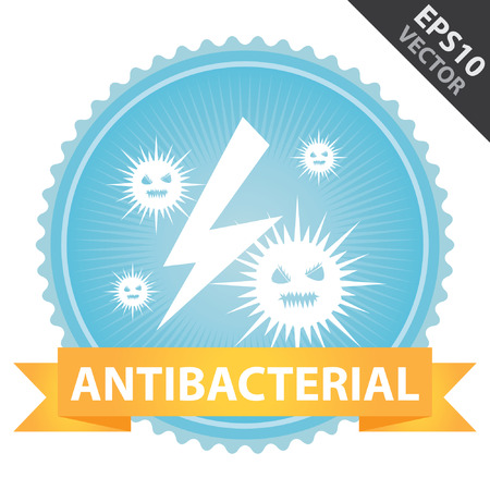 antibacterial: Vector : Tag, Sticker or Badge For Healthcare Present By Orange Ribbon on Blue Badge With Antibacterial Text and Bacteria Sign Isolated on White Background Illustration