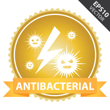Vector : Tag, Sticker or Badge For Healthcare Present By Orange Ribbon on Gold Badge With Antibacterial Text and Bacteria Sign Isolated on White Background Vector