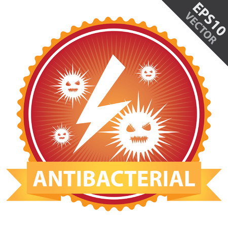 anti bacterial: Vector : Tag, Sticker or Badge For Healthcare Present By Orange Ribbon on Red Badge With Antibacterial Text and Bacteria Sign Isolated on White Background Illustration