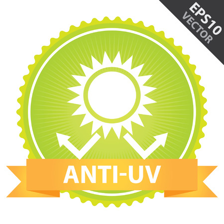 sunstroke: Vector : Tag, Sticker or Badge Present By Orange Ribbon on Green Badge With Anti-UV Text, Sun Protection Sign Isolated on White Background