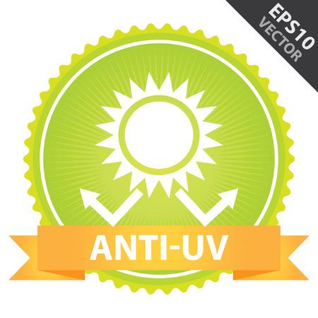 sun protection: Vector: Etiqueta, etiqueta engomada o insignia Presente Por anaranjada de la cinta en la insignia verde con el texto anti-UV, protecci�n solar signo aislado sobre fondo blanco Vectores