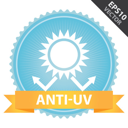 skin burns: Vector : Tag, Sticker or Badge Present By Orange Ribbon on Blue Badge With Anti-UV Text, Sun Protection Sign Isolated on White Background Illustration
