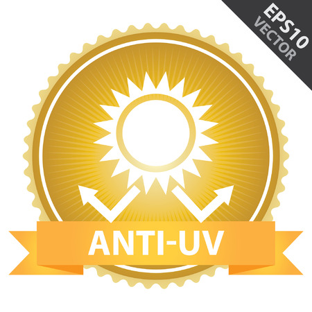 ultra: Vector : Tag, Sticker or Badge Present By Orange Ribbon on Gold Badge With Anti-UV Text, Sun Protection Sign Isolated on White Background Illustration