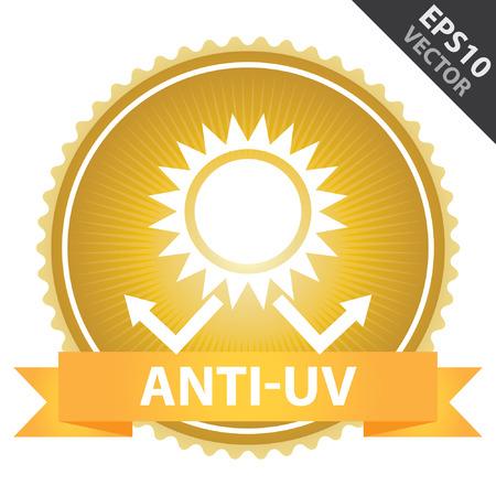 sun protection: Vector: Etiqueta, etiqueta engomada o insignia Presente Por anaranjada de la cinta en la Insignia de Oro con el texto anti-UV, protecci�n solar signo aislado sobre fondo blanco
