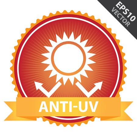 skin burns: Vector : Tag, Sticker or Badge Present By Orange Ribbon on Red Badge With Anti-UV Text, Sun Protection Sign Isolated on White Background