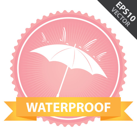 Vector : Tag, Sticker or Badge Present By Orange Ribbon on Pink Badge With Waterproof Text, Umbrella and Rain Sign Isolated on White Background