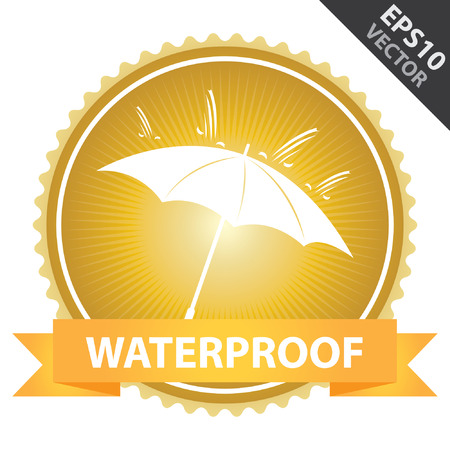 rainproof: Vector : Tag, Sticker or Badge Present By Orange Ribbon on Gold Badge With Waterproof Text, Umbrella and Rain Sign Isolated on White Background Illustration