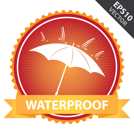 Vector : Tag, Sticker or Badge Present By Orange Ribbon on Red Badge With Waterproof Text, Umbrella and Rain Sign Isolated on White Background