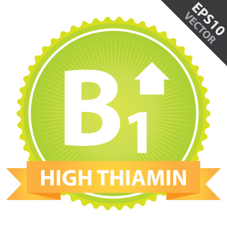 b1: Vector : Tag, Sticker or Badge For Healthy, Weight Loss, Diet or Fitness Product Present By Orange High Thiamin Ribbon on Green Badge With High Vitamin B1 Sign Isolated on White Background