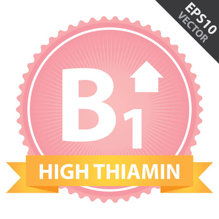 b1: Vector : Tag, Sticker or Badge For Healthy, Weight Loss, Diet or Fitness Product Present By Orange High Thiamin Ribbon on Pink Badge With High Vitamin B1 Sign Isolated on White Background