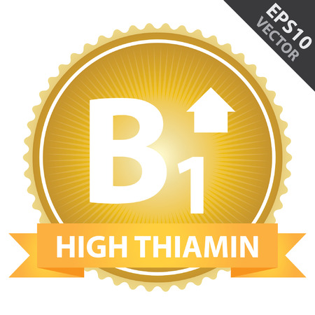 b1: Vector : Tag, Sticker or Badge For Healthy, Weight Loss, Diet or Fitness Product Present By Orange High Thiamin Ribbon on Gold Badge With High Vitamin B1 Sign Isolated on White Background Illustration
