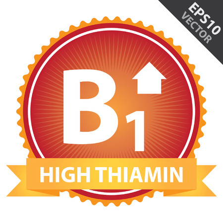 b1: Vector : Tag, Sticker or Badge For Healthy, Weight Loss, Diet or Fitness Product Present By Orange High Thiamin Ribbon on Red Badge With High Vitamin B1 Sign Isolated on White Background