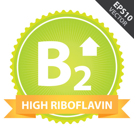 riboflavin: Vector : Tag, Sticker or Badge For Healthy, Weight Loss, Diet or Fitness Product Present By Orange High Riboflavin Ribbon on Green Badge With High Vitamin B2 Sign Isolated on White Background Illustration