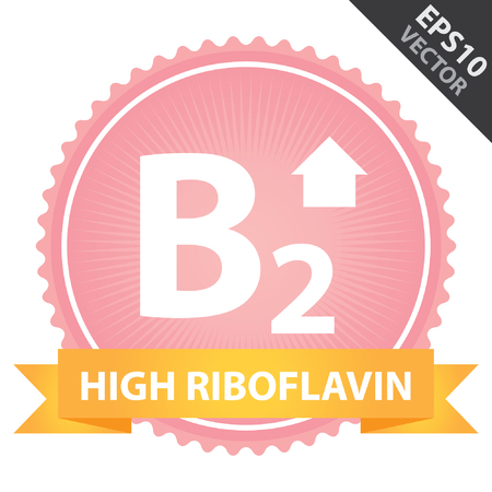 riboflavin: Vector : Tag, Sticker or Badge For Healthy, Weight Loss, Diet or Fitness Product Present By Orange High Riboflavin Ribbon on Pink Badge With High Vitamin B2 Sign Isolated on White Background Illustration