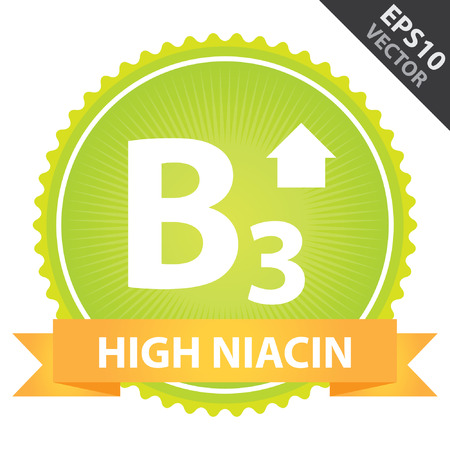 Vector : Tag, Sticker or Badge For Healthy, Weight Loss, Diet or Fitness Product Present By Orange High Niacin Ribbon on Green Badge With High Vitamin B3 Sign Isolated on White Background