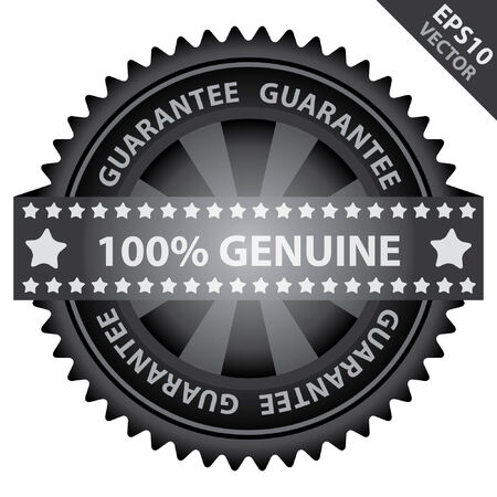 certificated: Vector : Marketing Campaign, Promotion or Business Concept Present By Black Glossy Badge With 100 Percent Genuine Label With Guarantee Text Around Isolated on White Background