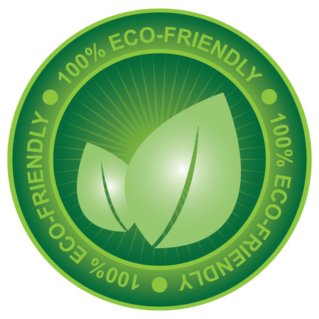 green house effect: Tag or Badge For Eco-Friendly or Save Energy Sign Present By Green Leaf Icon Isolated on White Background