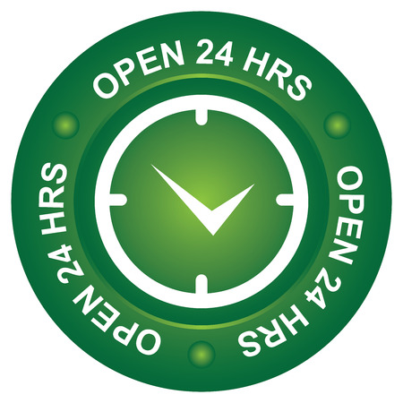 shop opening hours: Business Shop or Service Concept Present By Green Open 24 HRS Circle Sign With Clock Sign Inside Isolated on White Background