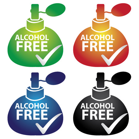 perfume spray: Sticker, Label or Badge For Product Information or Product Ingredient Present By Colorful Glossy Style Alcohol Free Perfume Spray Bottle Sign With Check Mark Isolated on White Background