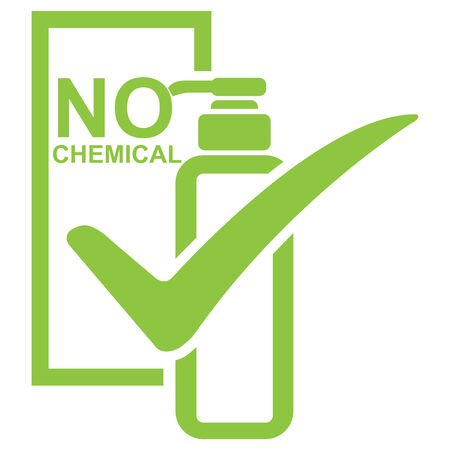 non toxic: Graphic for Marketing Campaign, Product Information or Product Ingredient Concept Present By Green No Chemical Shampoo Bottle Sign With Check Mark Isolated on White Background