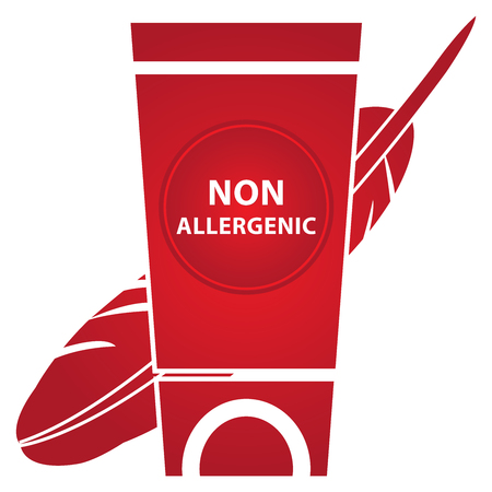 allergenic: Beauty and Fashion Concept Present by Red Lotion and Cream Container With Non Allergenic Text and Hypoallergenic Sign Isolated on White Background