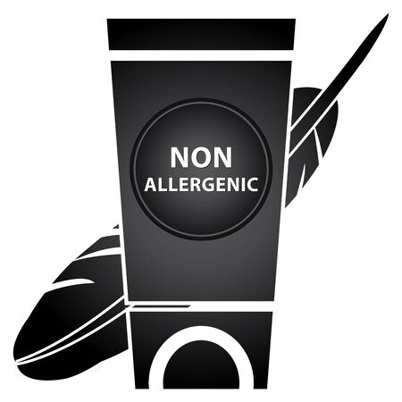 allergenic: Beauty and Fashion Concept Present by Black Lotion and Cream Container With Non Allergenic Text and Hypoallergenic Sign Isolated on White Background Stock Photo