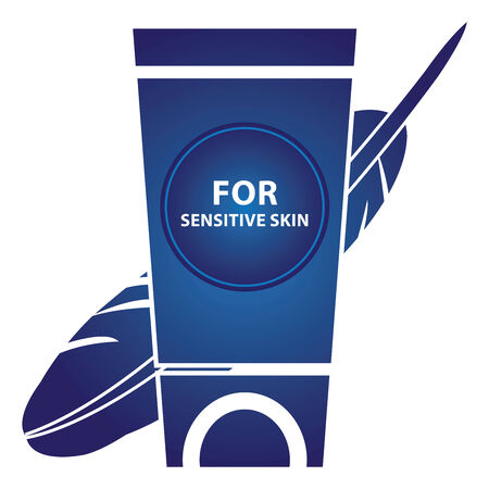 sensitive: Beauty and Fashion Concept Present by Blue Glossy Style Lotion or Cream Container With For Sensitive Skin Text and Hypoallergenic Sign Isolated on White Background