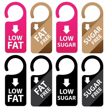 low cal: Marketing Materials For Healthy Food or Dietary Concept Present By Pink, Brown and Black Low Fat, Fat Free, Low Sugar and Sugar Free Tag Isolated on White Background