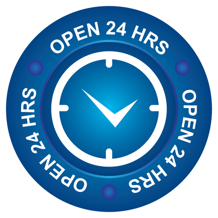 hrs: Blue Open 24 HRS Icon
