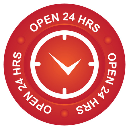 hrs: Red Open 24 HRS Icon Stock Photo