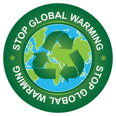 stop global warming: Save The Earth, Stop Global Warming and Ecology Concept Present By Stop Global Warming Circle Sign With Globe Inside Isolated