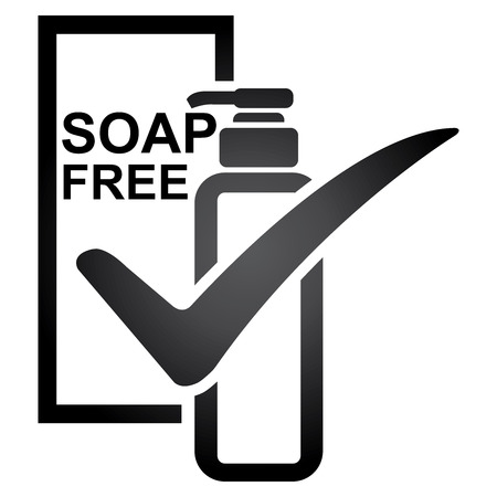 hypo: Graphic for Marketing Campaign, Product Information or Product Ingredient Concept Present By Black Soap Free Shampoo or Lotion Bottle Sign With Check Mark Isolated on White Background