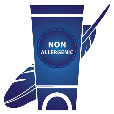 allergenic: Beauty and Fashion Concept Present by Blue Lotion and Cream Container With Non Allergenic Text and Hypoallergenic Sign Isolated on White Background