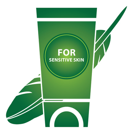 sensitive skin: Beauty and Fashion Concept Present by Green Glossy Style Lotion or Cream Container With For Sensitive Skin Text and Hypoallergenic Sign Isolated on White Background