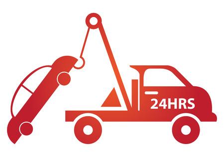 비즈니스 및 서비스 개념에 의해 레드 광택 스타일 24HRS 견인 자동차에 격리 된 흰색 배경 서명