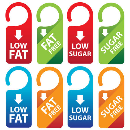 low cal: Marketing Materials For Healthy Food or Dietary Concept Present By Red, Green, Blue and Orange Low Fat, Fat Free, Low Sugar and Sugar Free Tag Isolated on White Background