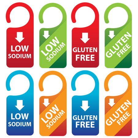 salt free: Marketing Materials For Healthy Food or Dietary Concept Present By Red, Green, Blue and Orange Low Sodium and Gluten Free Tag Isolated on White Background