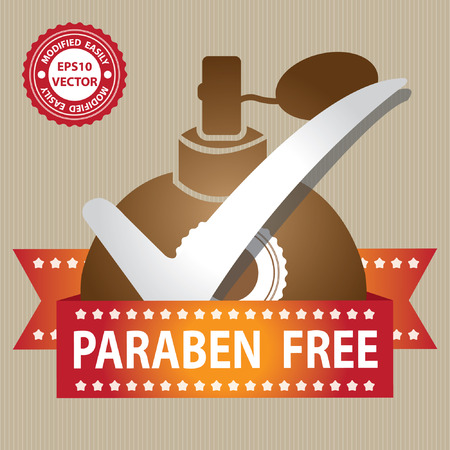 perfume spray: Vector : Sticker, Label or Badge For Product Information or Product Ingredient Present By Brown Glossy Style Paraben Free Perfume Spray Bottle Sign With Check Mark in Brown Background