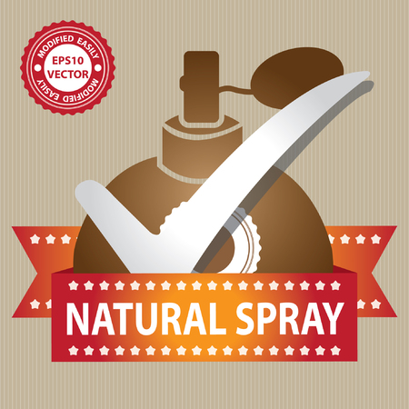 perfume spray: Vector : Sticker, Label or Badge For Product Information or Product Ingredient Present By Brown Glossy Style Natural Spray Perfume Bottle Sign With Check Mark in Brown Background Illustration