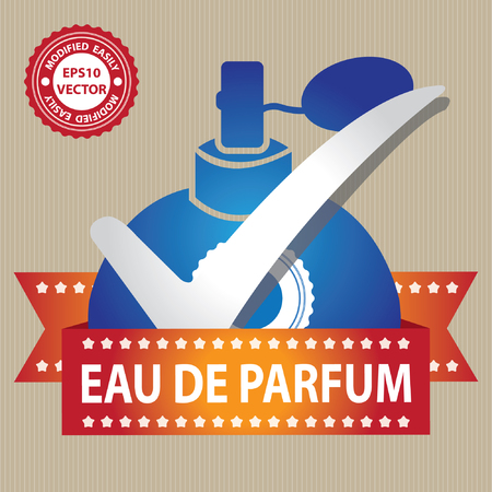 parfum: Vector : Sticker, Label or Badge For Product Information or Product Ingredient Present By Blue Glossy Style Eau De Parfum Spray Bottle Sign With Check Mark in Brown Background