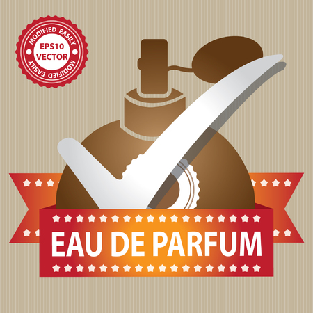 eau: Vector : Sticker, Label or Badge For Product Information or Product Ingredient Present By Brown Glossy Style Eau De Parfum Spray Bottle Sign With Check Mark in Brown Background