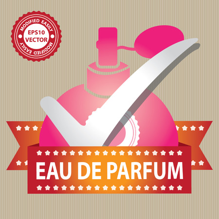 eau: Vector : Sticker, Label or Badge For Product Information or Product Ingredient Present By Pink Glossy Style Eau De Parfum Spray Bottle Sign With Check Mark in Brown Background Illustration