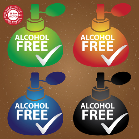 perfume spray: Vector : Sticker, Label or Badge For Product Information or Product Ingredient Present By Colorful Glossy Style Alcohol Free Perfume Spray Bottle Sign With Check Mark in Brown Background Illustration