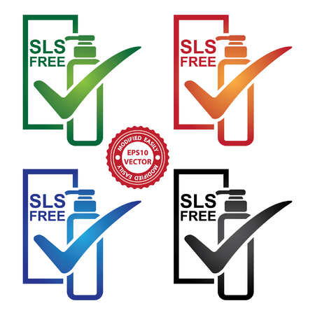 allergenic: Vector : Graphic for Marketing Campaign, Product Information or Product Ingredient Concept Present By Colorful SLS Free Shampoo or Lotion Bottle Sign With Check Mark Isolated on White Background