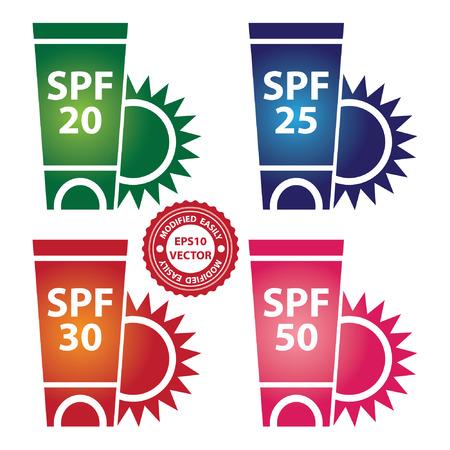 sun lotion: Vector: Belleza y Moda actual concepto de Colorful SPF 50 Sunscreen Lotion Recipiente Tubo con Sun signo aislado sobre fondo blanco